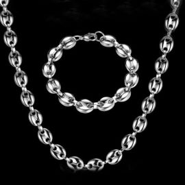 7mm Coffee Bean Chain Set in Stainless Steel