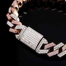 14mm Two-Tone Cuban Bracelet in Silver and  Rose Gold