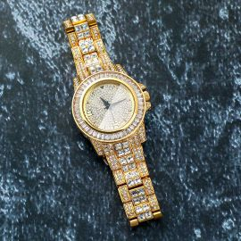 18K Gold Finish Iced Watch