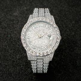 Iced Roman Numerals Men's Watch in White Gold