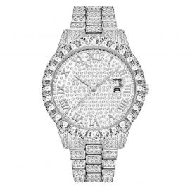 Iced Roman Numerals Men's Watch in White Gold