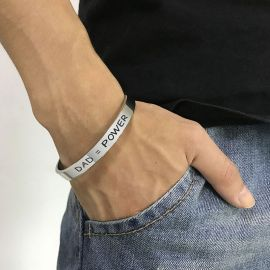 """DAD=POWER"" & ""I Love You Dad"" Stainless Steel Open Bracelet"