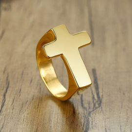 Cross Stainless Steel Ring in Gold