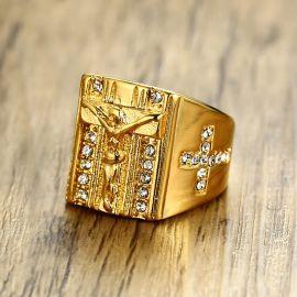 Men's Cross Jesus Titanium Steel Ring