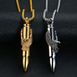 Titanium Steel Bullet Pendant with Eagle
