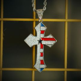Iced Flag Cross Pendant in White Gold