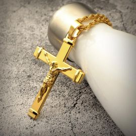 Jesus Crucifix Cross Pendant in Gold
