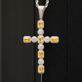 Fancy Yellow and White Diamonds Cross Pendant in White Gold