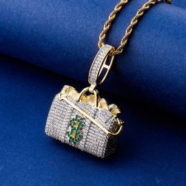 Iced Money Bag Suitcase Pendant in Gold