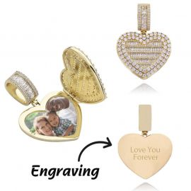 Custom Locket Heart Photo Pendant in Gold
