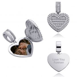 Custom Locket Heart Photo Pendant in White Gold