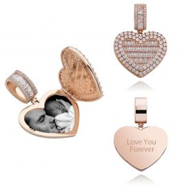 Custom Locket Heart Photo Pendant in Rose Gold