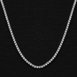 3mm Tennis Necklace in White Gold