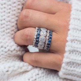 White & Sapphire Stone Stacking Ring Set