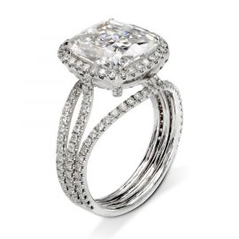 3.0 Ct Cushion Cut Halo Ring