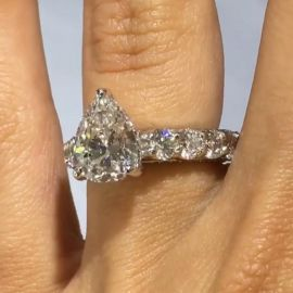 2.3 Ct Pear Cut Ring in Sterling Silver