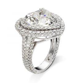 Women's 3.6 Ct Heart Cut Halo Ring