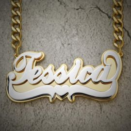 Custom Two-Tone Letters Pendant with Cuban Link Chain