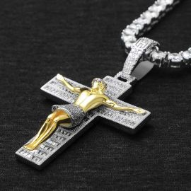 Crucifixion of Jesus Pendant in White Gold