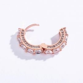 Iced Huggie Earrings in Rose Gold