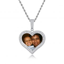 Custom Double Halo Heart Photo Pendant in White Gold