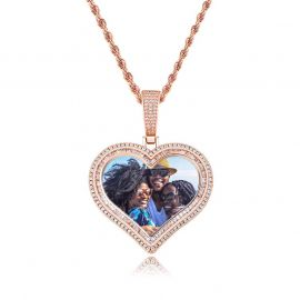 Custom Double Halo Heart Photo Pendant in Rose Gold
