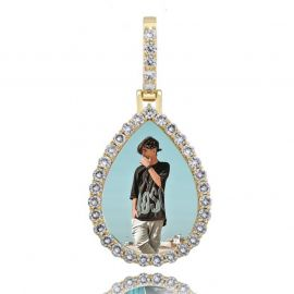 Iced Custom Drip Shaped Photo Pendant in Gold