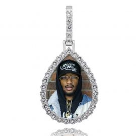 Iced Custom Drip Shaped Photo Pendant in White Gold