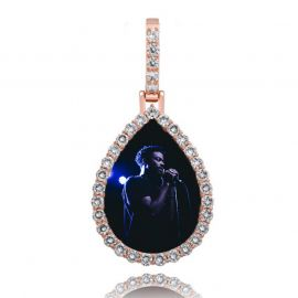 Iced Custom Drip Shaped Photo Pendant in Rose Gold