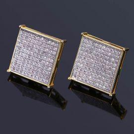 Square Diamond Paved Stud Earrings-15*15mm
