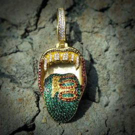 "Iced ""Multi-million Alike"" Dollars Tongue Out Pendant"