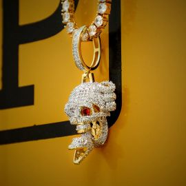 Iced Skull and Snake Pendant