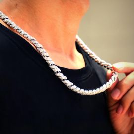 10mm Iced Paved Spiral Chain in Silver