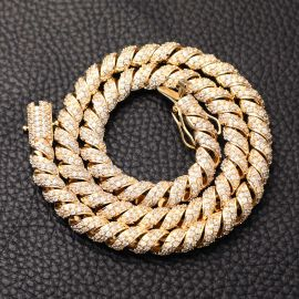 10mm Iced Paved Spiral Chain in Gold