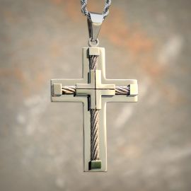 18K White Gold Stainless Steel Cross Pendant