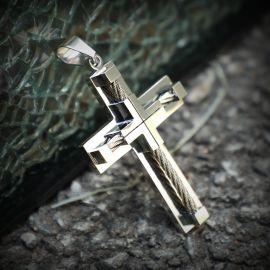 18K White Gold Stainless Steel Cross Pendant