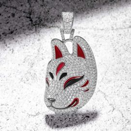 Fox Mask Pendant in White Gold