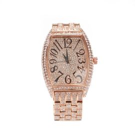 Iced Large Dial Tonneau-shaped Curved Wristwatch in Rose Gold