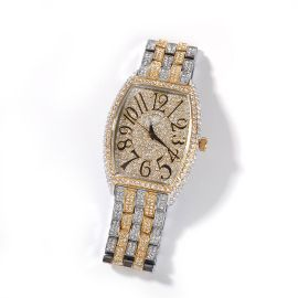Iced Two-tone Large Dial Tonneau-shaped Curved Wristwatch