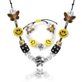 Smiley Face with Pearl Necklace Set