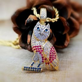 Iced  Multi-color Owl Pendant in Gold