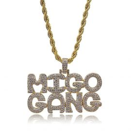 Iced MIGO GANG Pendant in Gold