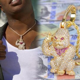 Iced Big APE Pendant in Gold