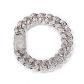 Unique 15mm Drip-shaped Stones Cuban Bracelet in White Gold
