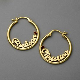 "Personalize 1.2"" Name Letters Hoop Earrings"