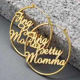 "Personalize 2"" Large Name Hoop Earrings"