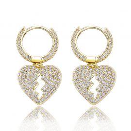 Iced Broken Heart Dangle Earrings