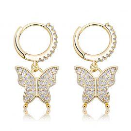 Iced Butterfly Dangle Earrings