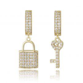 Iced Lock and Key Asymmetric Dangle Earrings