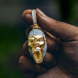 Iced Roaring Gorilla Pendant in Gold